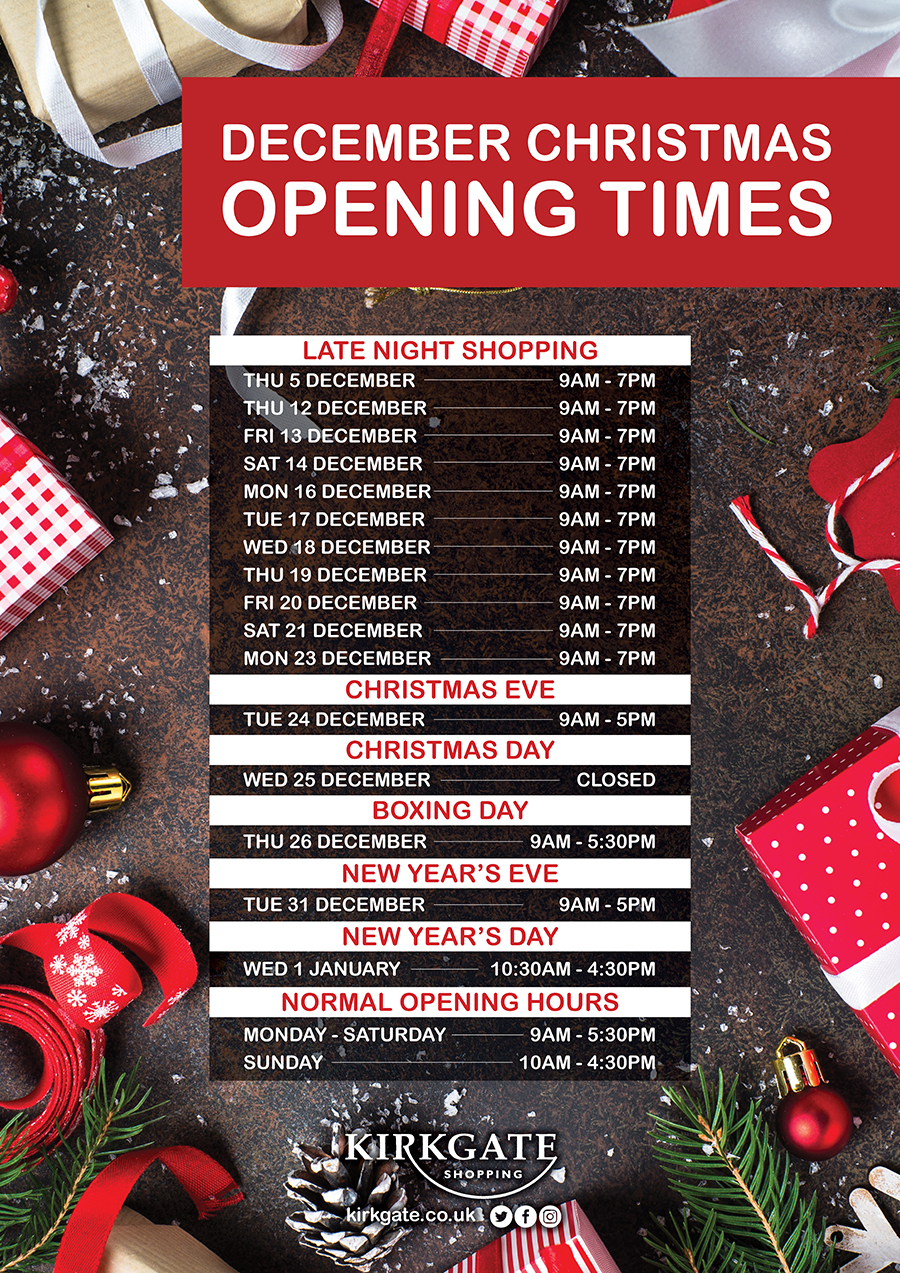 Kirkgate Shopping Opening Hours